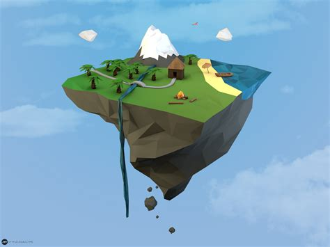 3d illustration his car floating low poly images 3d low poly low