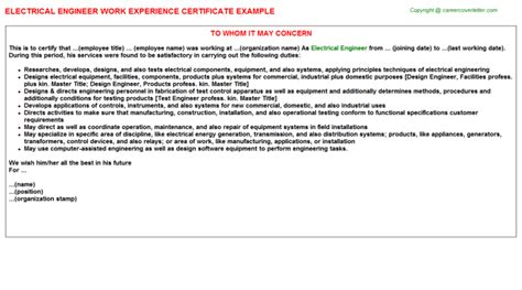 Work Experience Certificate Electrical Engineer Electrical Engineer Work Experience Certificate