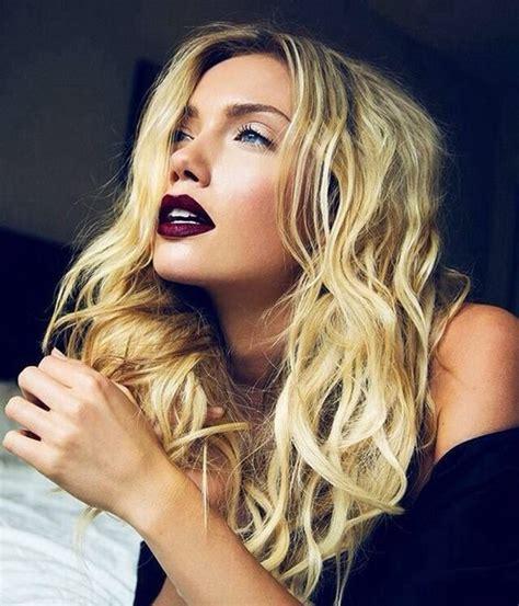 blonde hair purple lipstick jewels purple lipstick burgundy wheretoget