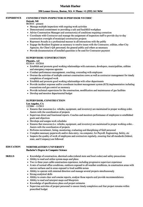 supervisor construction resume sles velvet