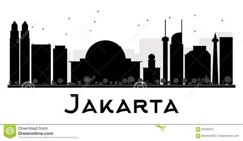 jakarta city skyline black  white silhouette stock