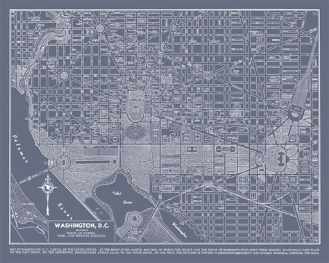 washington dc map print washington dc map vintage gray map print poster