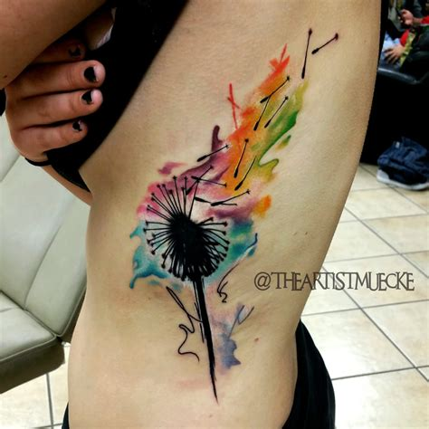 watercolor dandelion tattoo 53 colorful watercolor tattoos