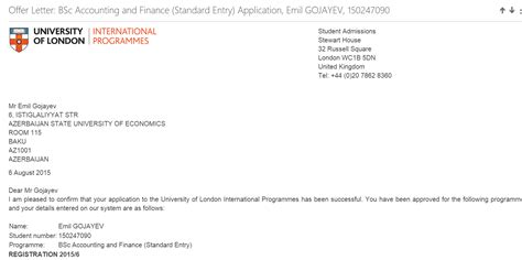Acceptance Letter For Erasmus Internship Unec Congratulations To Our Student Accepted To The Of International