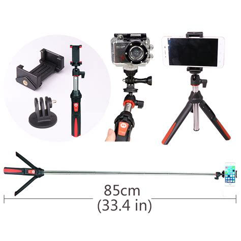 Tongsis Benro Smart 3 In1 With Remote Bluetooth For Gopro Smartphone ulanzi benro mk10 4 in 1 extendable bluetooth remote selfie stick monopod tripod phone stand