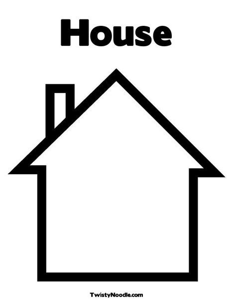 template house colouring pages