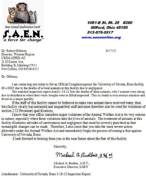 Complaint Letter Veterinarian Of Nevada Reno Nv Letter Of Complaint To Usda 17 Aug 2012 Nevada Reports And