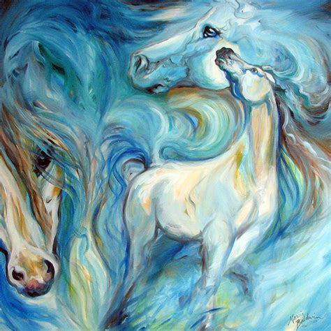 imagenes figurativas blue mystic sky equine abstract painting by marcia baldwin