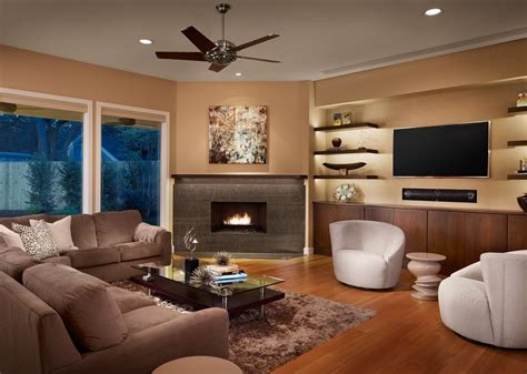 built in corner tv living room contemporary with glass top coffee table nature floral print area