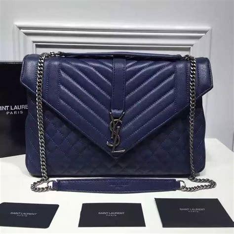 saint laurent large monogram envelope satchel  blue