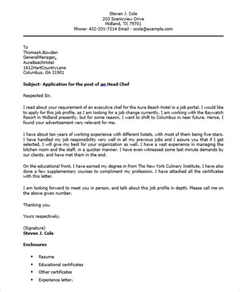 cover letter chef application 32 application letter sles free premium templates