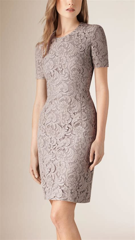 Dress Lace Grey lyst burberry lace shift dress in gray