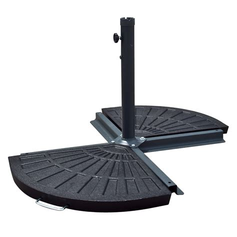 Patio Umbrella With Stand Aged Metal New Patio Umbrella Stand 30lb Resin Base Outdoor For 10 Ft Look Ebay