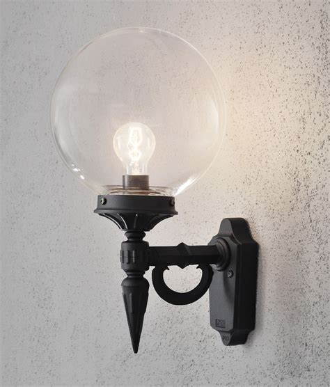 traditional outside wall lights clear glass globe shade outdoor wall light