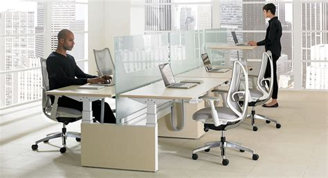 teknion benching height adjustable tables