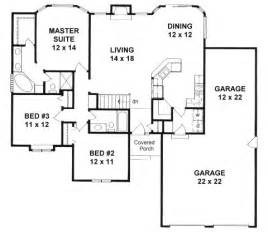 How Many Square Feet Is A 3 Car Garage Plan 1449 Ranch W Walk In Pantry 3 Car Tandem Garage