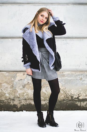 milena olimpia dziewulska grey checked skirt lookbook