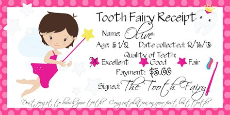 Explanation Letter Lost Receipt o s lost tooth tooth receipt free printable