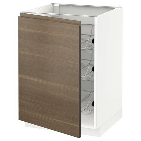 Kitchen Base Cabinets Baskets Metod Base Cabinet With Wire Baskets White Voxtorp Walnut