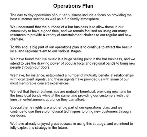 business operations plan template sle operational plan