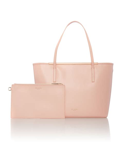 light pink tote bag ted baker celiaa light pink saffiano large tote bag in