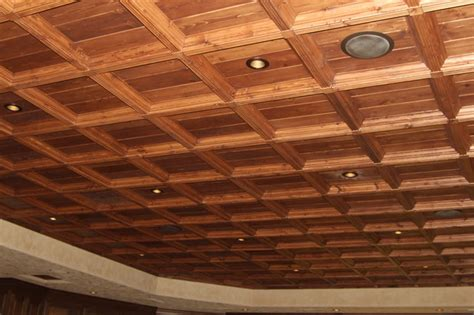 suspended coffered wood ceiling system rustic dining