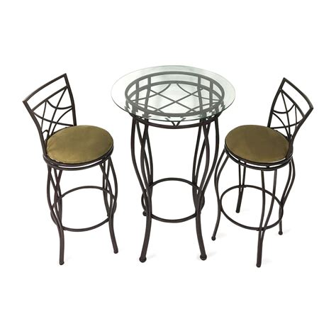 Iron Bistro Table Set 53 Counter Height Glass And Wood Table With Four Chairs Tables