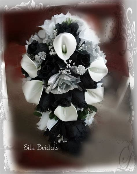 interestingillustration silver black and white bridal bouquet silk wedding flowers by