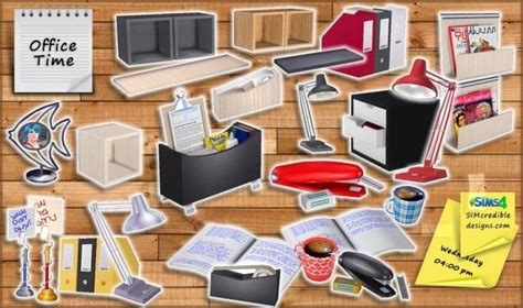 sims 4 cc clutter office time clutter set at simcredible designs 4 sims 4