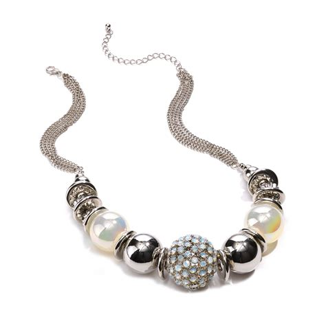 material silvertone chunky beaded statement necklace
