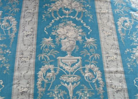 Chateau Curtain Panel Antique French Fabric In Blue Grey