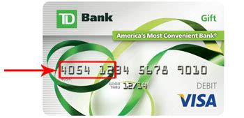 Td Bank Visa Gift Card - exle 6 digits for gift card