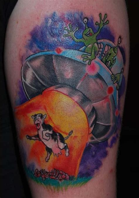 space ship tattoo aliens cow in their space ship colored