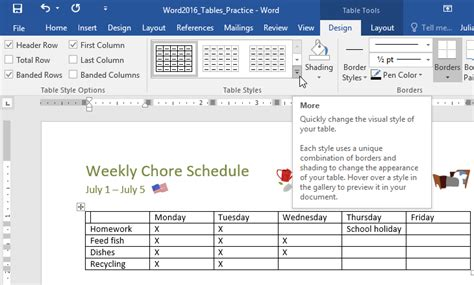 Change Table Style Word Word 2016 Tables Page 3