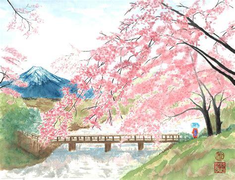 Japanese Blossom Tree sakura painting by terri harris