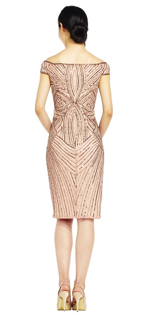 Beaded Sheath Dress the shoulder swirl beaded sheath dress papell
