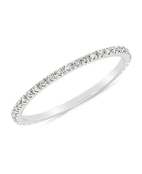 eternity pave diamonds cz ring thin wedding band