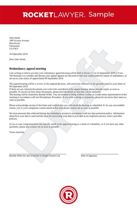 invitation redundancy appeal meeting uk template
