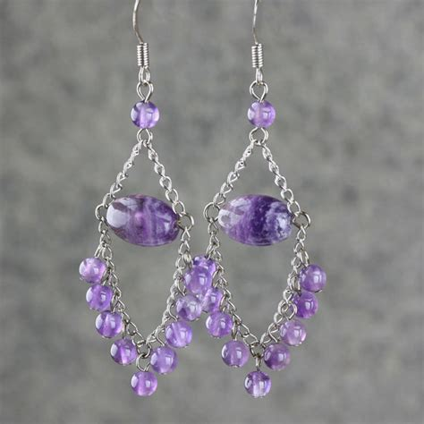 Handmade Earrings Designs - amethyst dangling chandelier earrings handmade by