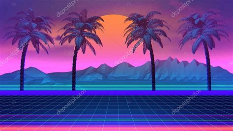 palm trees  synthwave retrowave background palm