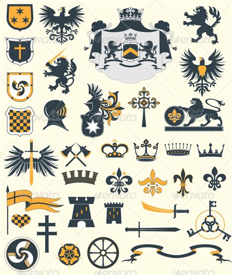 heraldic design elements vector heraldic design elements by genestro graphicriver