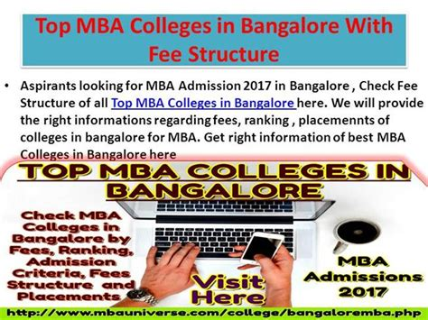 Mba Admission 2017 In Bangalore by Top Mba Colleges In Bangalore With Fee Structure Authorstream