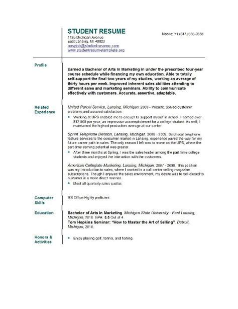 Mba Graduate Student Resume Profile Summary by Resume Template For College Students Resume Template For