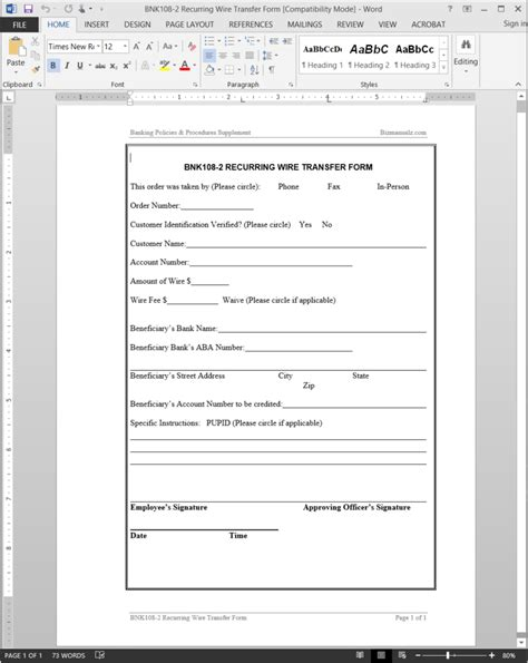 wire transfer form template recurring wire transfer form template bnk108 2