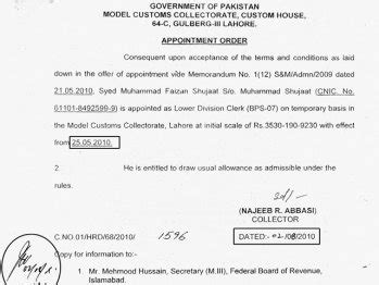 appointment letter pakistan fbr customs employees irked by illegal hirings pakistan