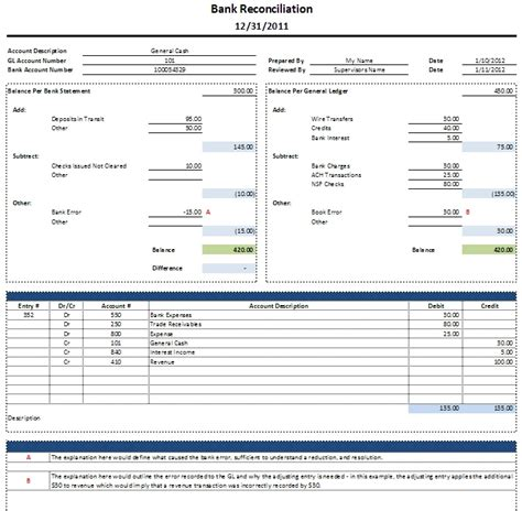 Bank Reconciliation Template Peerpex Us Bank Statement Template