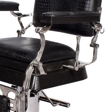 emperor barber chair  black crocodile