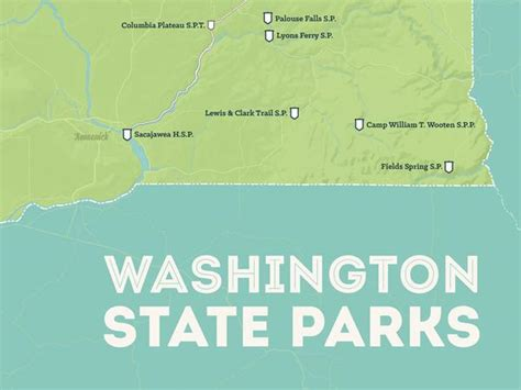 Green Mba Washingston State by Washington State Parks Map 18x24 Poster