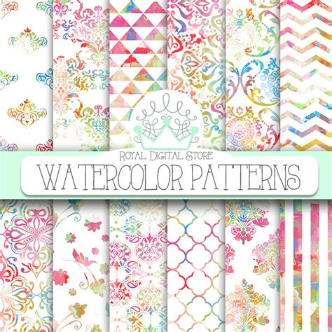 watercolor pattern paper watercolor digital paper watercolor patterns with