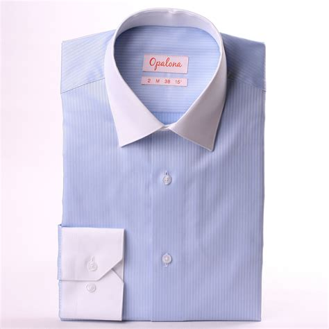 White Blue Colar light blue shirt with white collar and cuffs